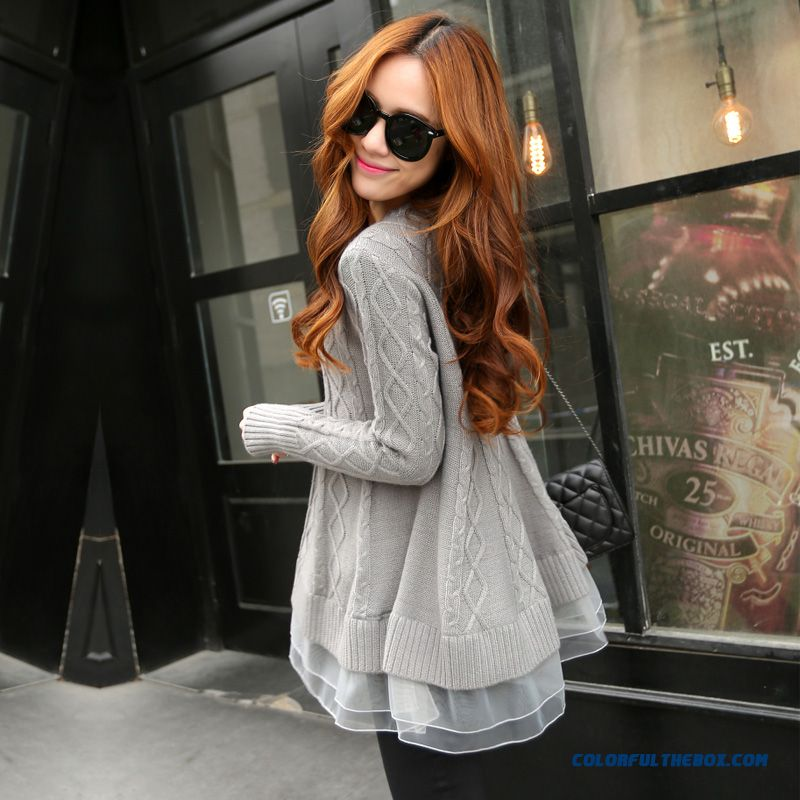 Types Of Clothing False Two Women Sweater Pull Blouson Bottoming Shirt Round Neck Loose Lace Coat
