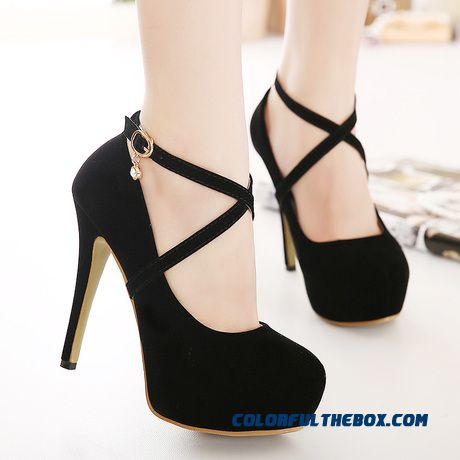 Ultra-high-heeled Shoes Fine Heel Buckle Fine Heel Shallow Mouth Round-toe Women Pumps
