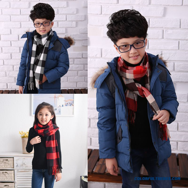 Ultra-soft Kids Accessories Cashmere Z Home Scarves Classic Kids Plaid Scarf For Boys
