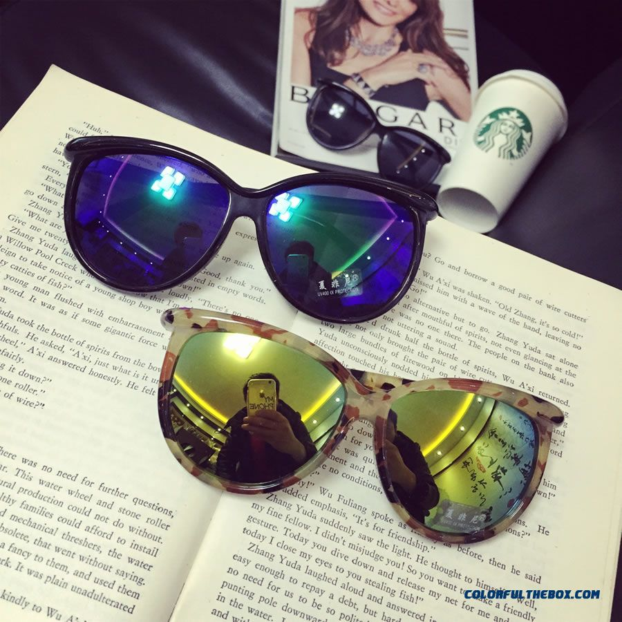 Ulzzang Candy-colored Shell Pattern Colorful Vintage Round Frame Sunglasses Women And Men Dark Glasses