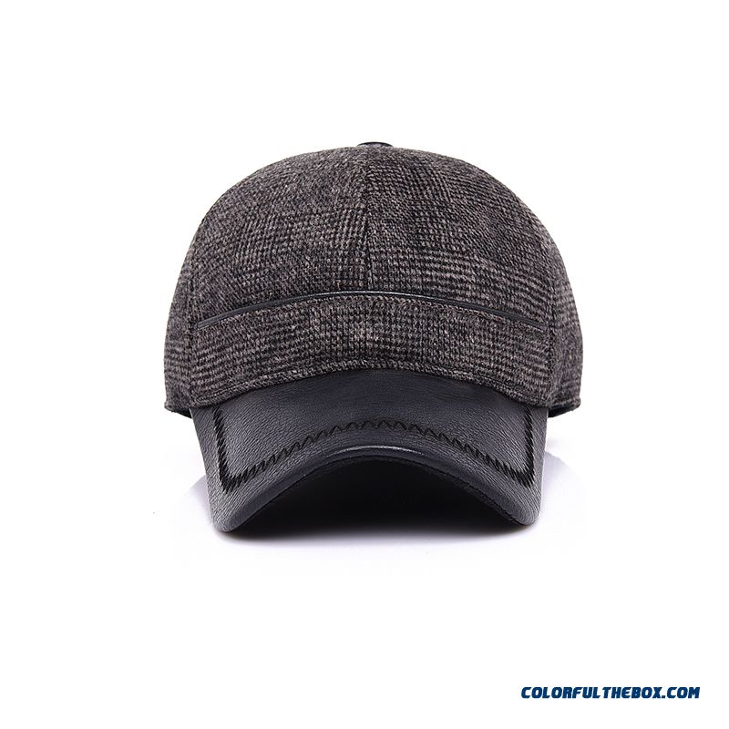 Unisex Men Warm Woolen Baseball Cap Elderly Proteced Ear Cap Free Shipping