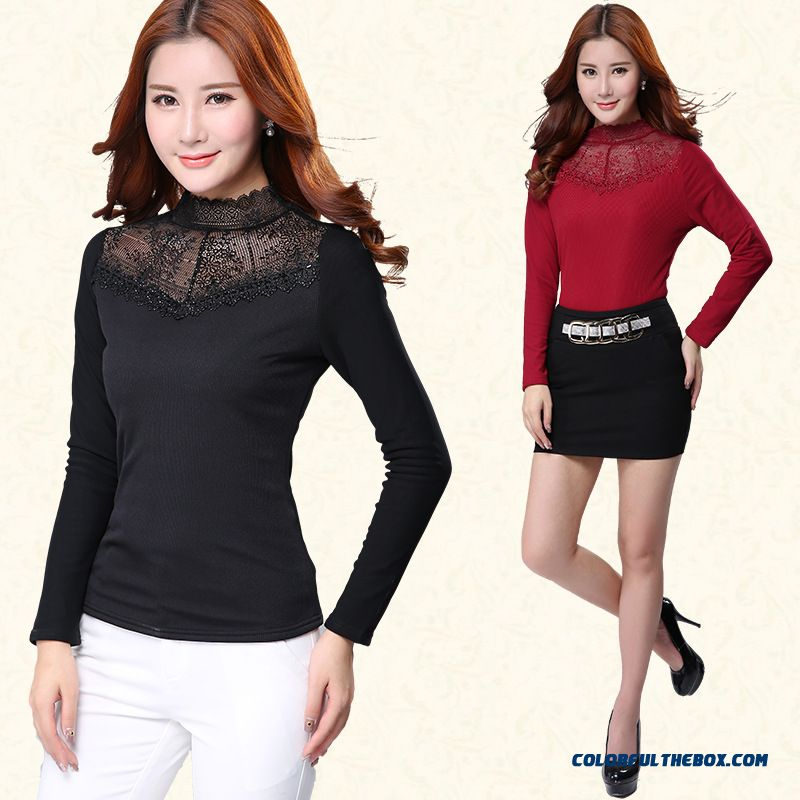 Upscale Bottoming Shirt Plus Velvet Thick Warm Women Slim Printing High-necked T-shirt Gauze