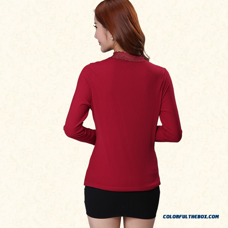 Upscale Bottoming Shirt Plus Velvet Thick Warm Women Slim Printing High-necked T-shirt Gauze - more images 3