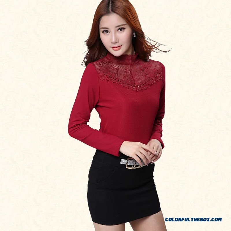 Upscale Bottoming Shirt Plus Velvet Thick Warm Women Slim Printing High-necked T-shirt Gauze - more images 4
