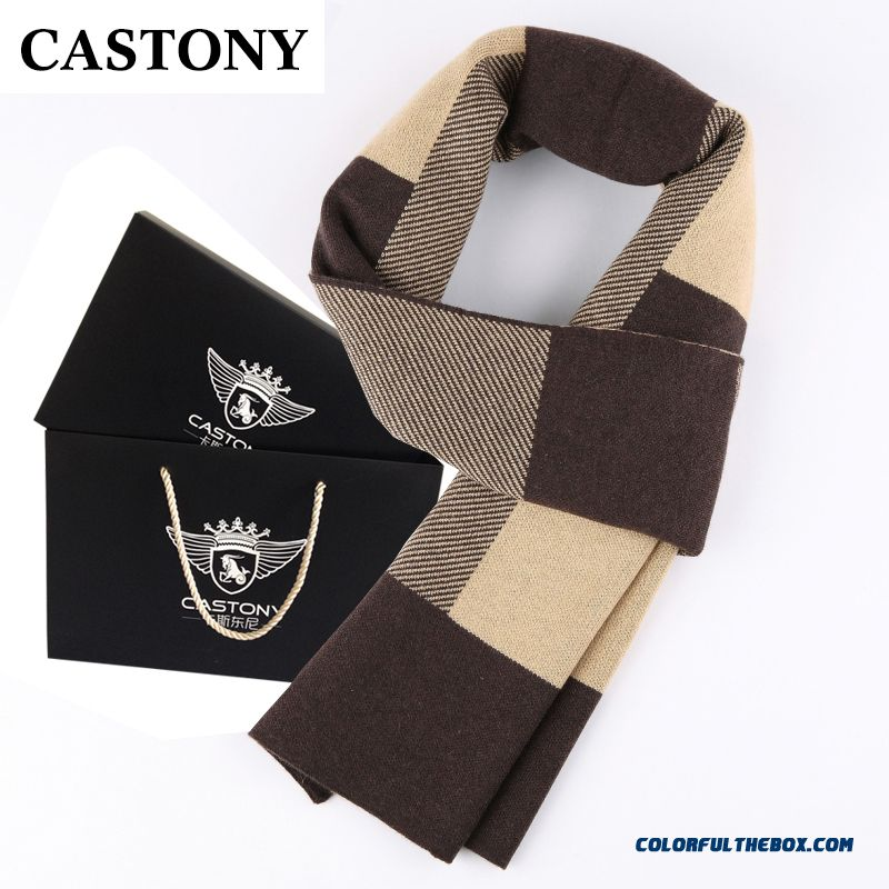 Upscale Gift Box Men's Thick Winter Wool Scarves Boutique Fabrics Accessories