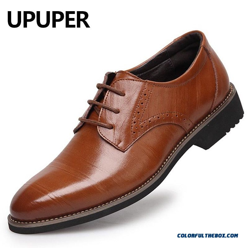 Upuper Pointed Toe Genuine Leather Mens Dress Shoes Lace-up Oxfords Business Shoes Black Blue Yellow Men Shoes For Wedding