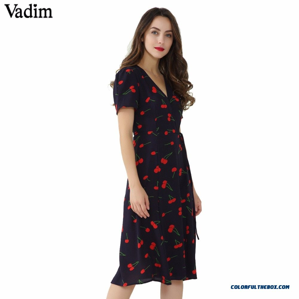 Vadim Vintage V Neck Floral Pattern Midi Wrap Dress Cherry Dress Bow Tie Cross Design Short Sleeve Retro Vestido Mujer Qz3506