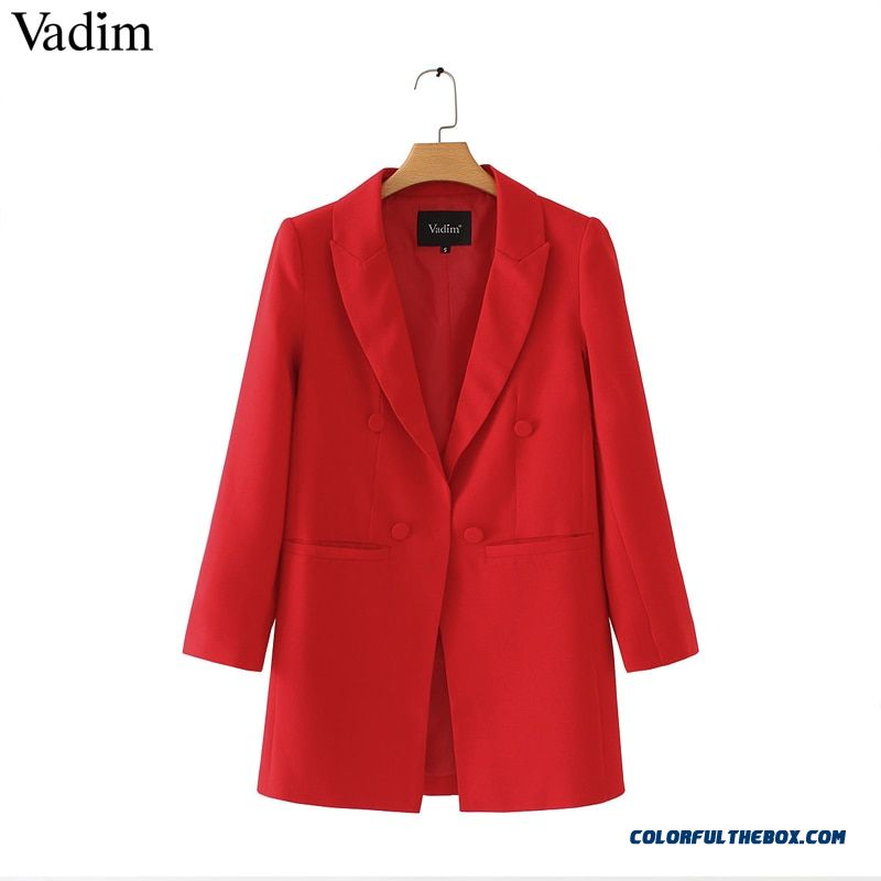 Vadim Women Shrug Long Blazers Long Sleeve Notched Collar Solid Red Black Outerwear Office Lady Work Wear Basic Chic Tops Ca093