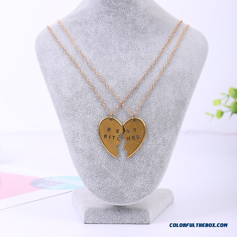 Valentine's Day Women Jewelry Love Couple Split Mind Pendant Best Bitches Girlfriends Pendant