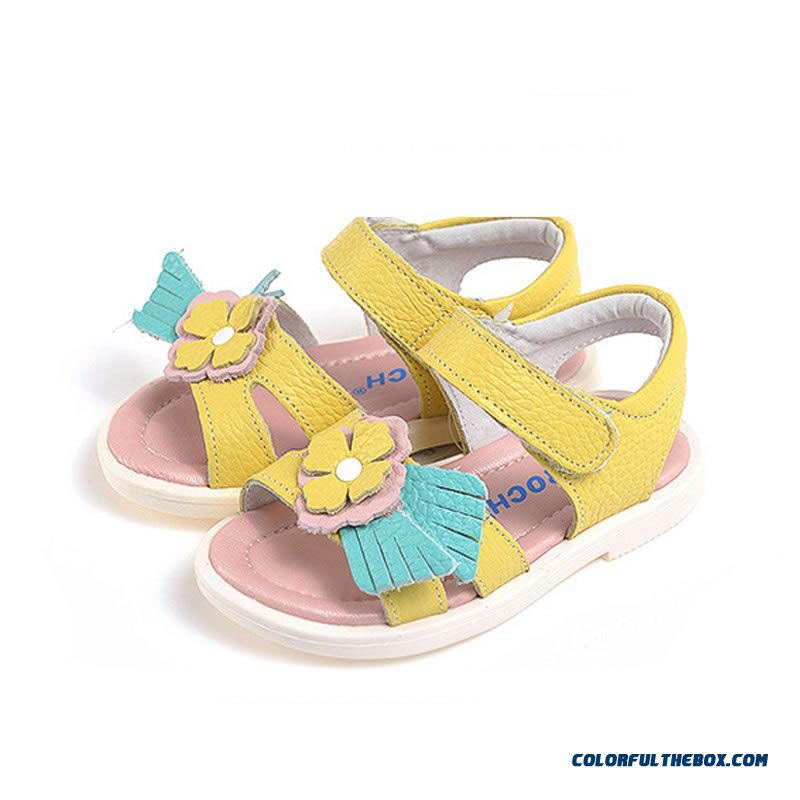 Vigorous Strides Genuine Leather Shoes Anti-slip Sandals Korean Style Kids Shoes Designed Specifically For Girls
