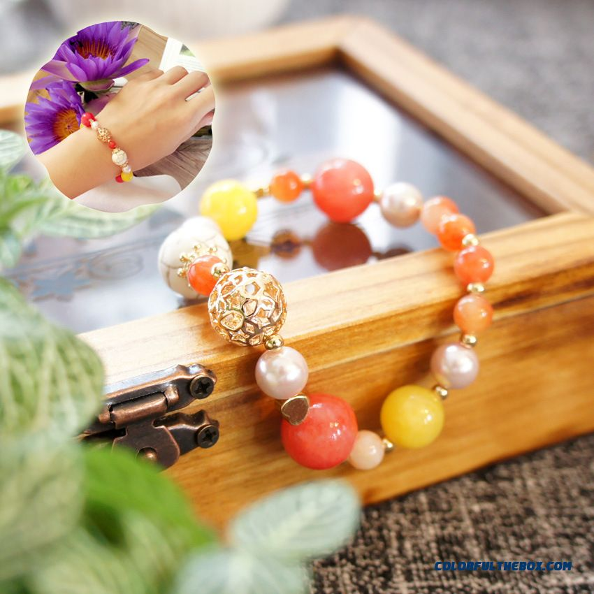 Vitality Jewelry Women Fruit Orange Natural Stone + K Gold Plated Copper Bracelets Bangles
