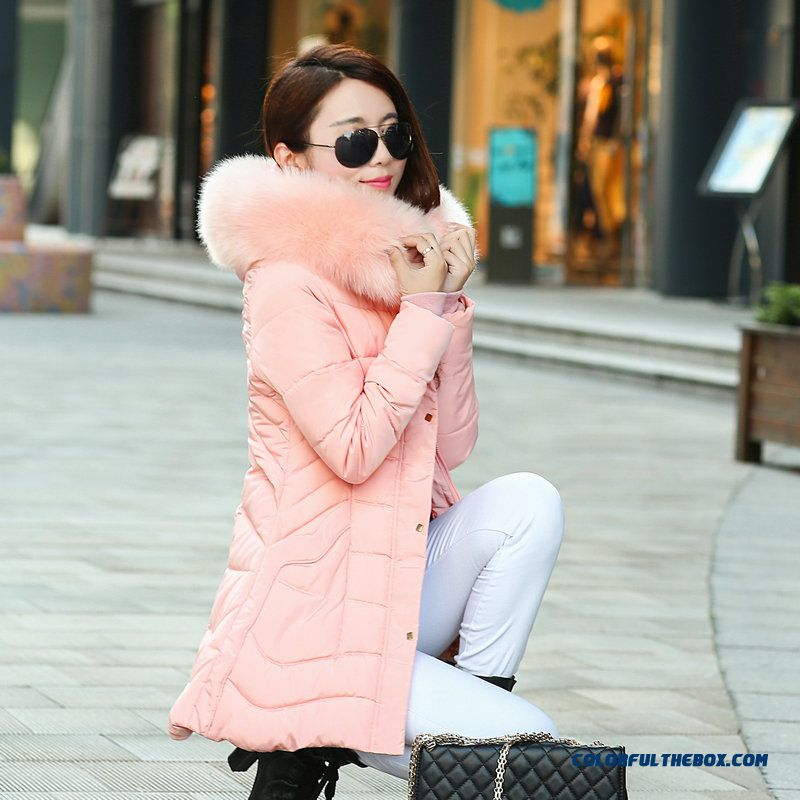 Vogue Female Coats Winter New Slim Down Cotton Clothing Pink Ovo Collar Medium Length