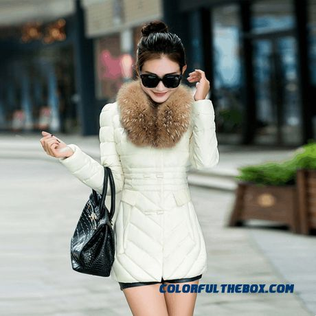 Vogue Winter New 2015 Female Coats Ovo Collar Thicken White Medium Length