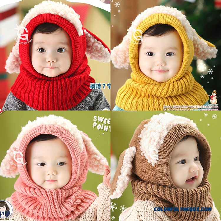 Warm Conjoined Bib Scarves Ear Wool Hat Shawls Scarves Hats Multi-purpose Girls Accessories For 6 Month-2 Years Old Kids