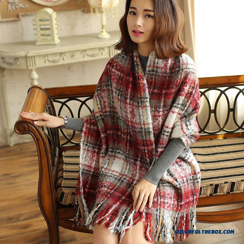 Warm Fringed Cloak Dual-purpose Thick Plaid Shawl Knitting Scarves Designed For Women