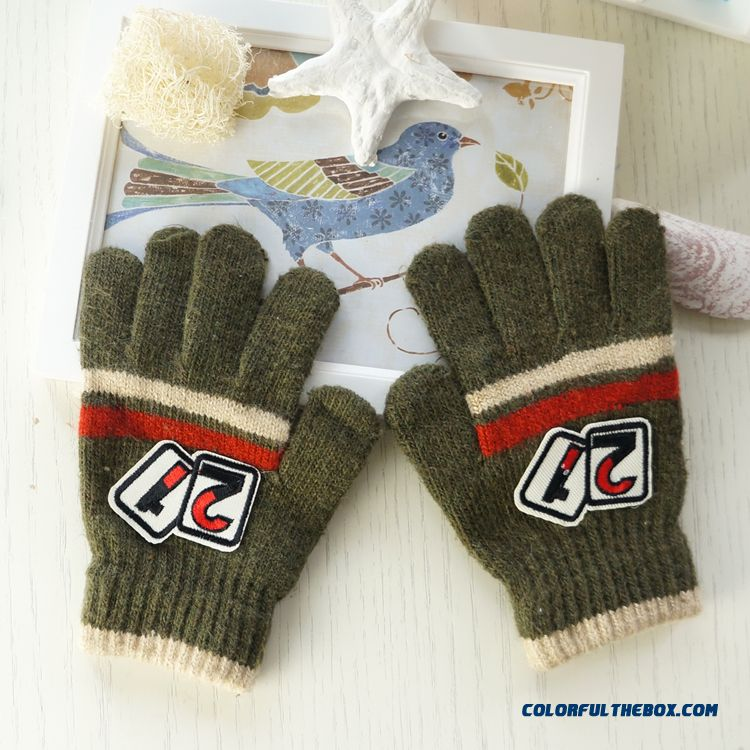 Warm Teenagers Boys Kids 100 % Cotton Digital Rabbit Wool Five Fingers Students Children Gloves