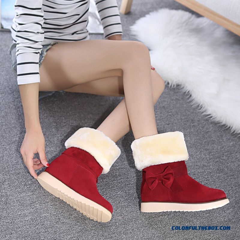 Warm Winter New Snow Boots Elevator Shoes Inside With Bow-tie Women Shoes