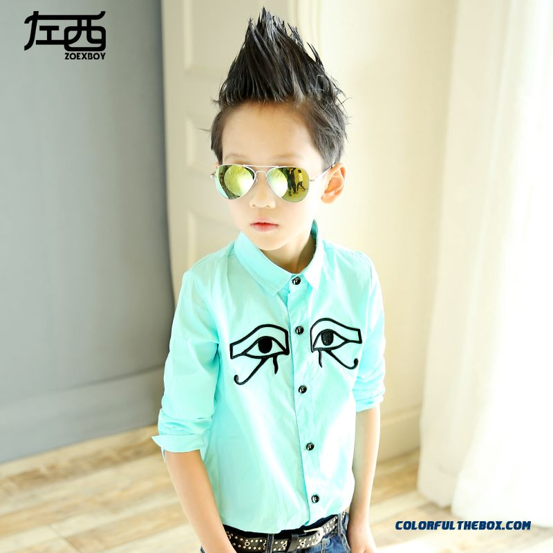 West Left Boy Long-sleeved Eye Lashes Shirt Children Kids 2016 Spring And Autumn New Clothing