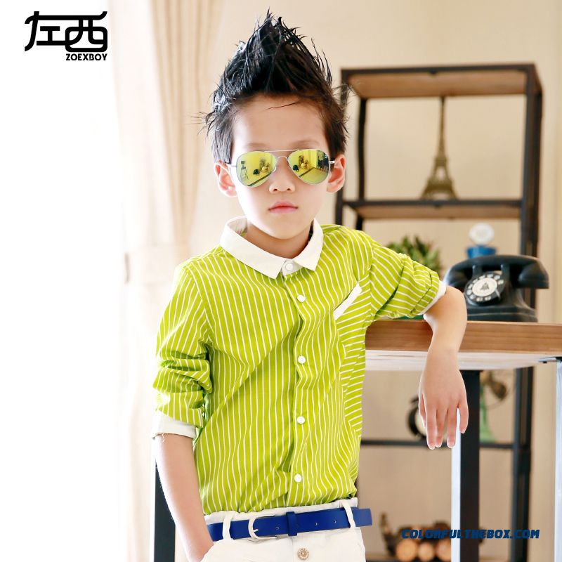 West Left Boy Long-sleeved Stripe Shirt Children Kids Free Shipping Green Black Stangding Collar