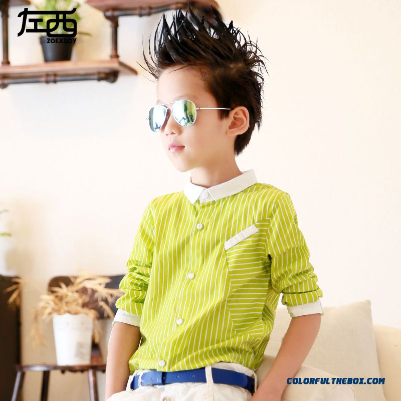 West Left Boy Long-sleeved Stripe Shirt Children Kids Free Shipping Green Black Stangding Collar - more images 1