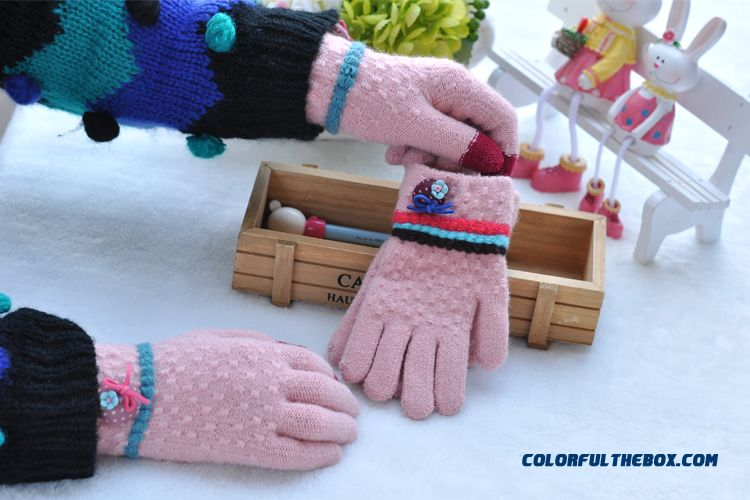 Western Style Mittens Girls Boys Unisex Korean Version Plus Velvet Students Kids Full Finger Gloves Accessories