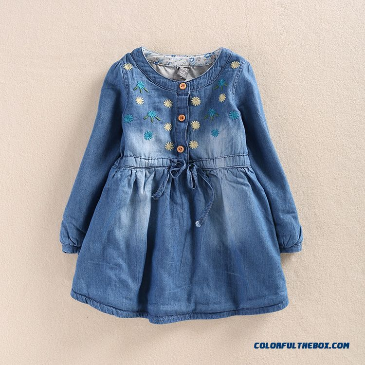 Western Style New Girls Autumn Dress Baby Kids Dual Purpose Sleeve Denim Shirt - more images 1