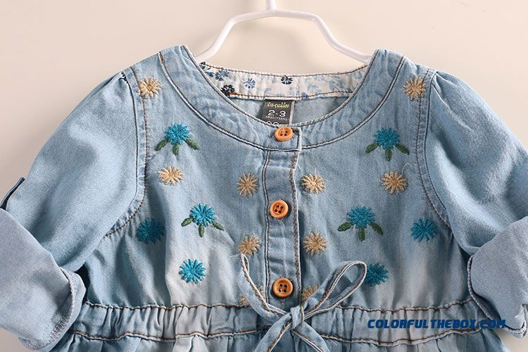 Western Style New Girls Autumn Dress Baby Kids Dual Purpose Sleeve Denim Shirt - more images 2