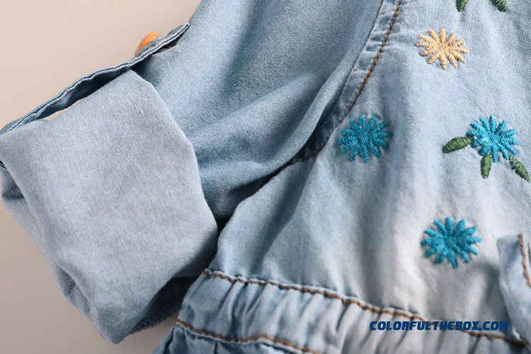 Western Style New Girls Autumn Dress Baby Kids Dual Purpose Sleeve Denim Shirt - more images 3