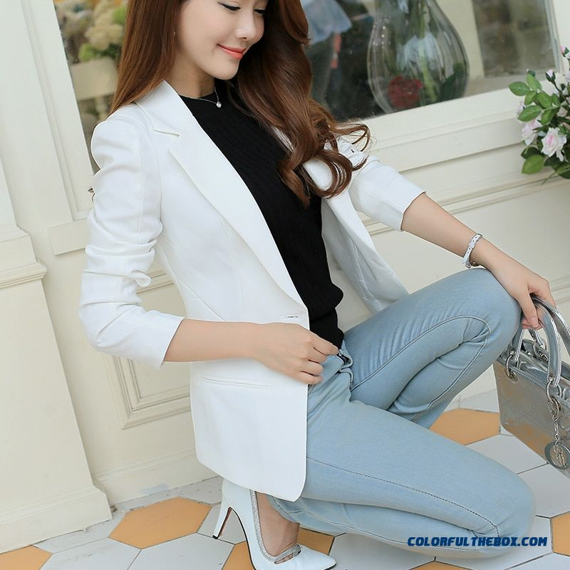 White Black Pink Women Blazers And Jackets Plus Size 2019 Spring Autumn Single Button Blaser Female Elegant Blazer Long Sleeve