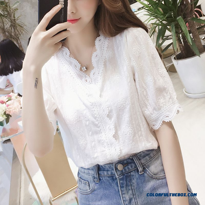 White Design New Coat Short Sleeve Chiffon Big Summer 2019 Women's Shirt Lace
