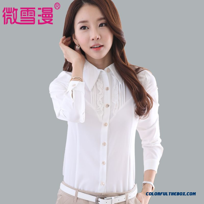 White Long-sleeved Shirt Large Size Women's Blouses Medium Style Overalls