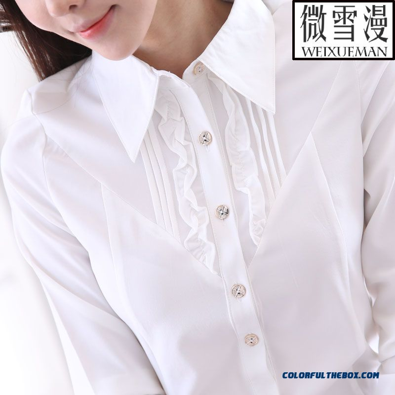 White Long-sleeved Shirt Large Size Women's Blouses Medium Style Overalls - more images 4