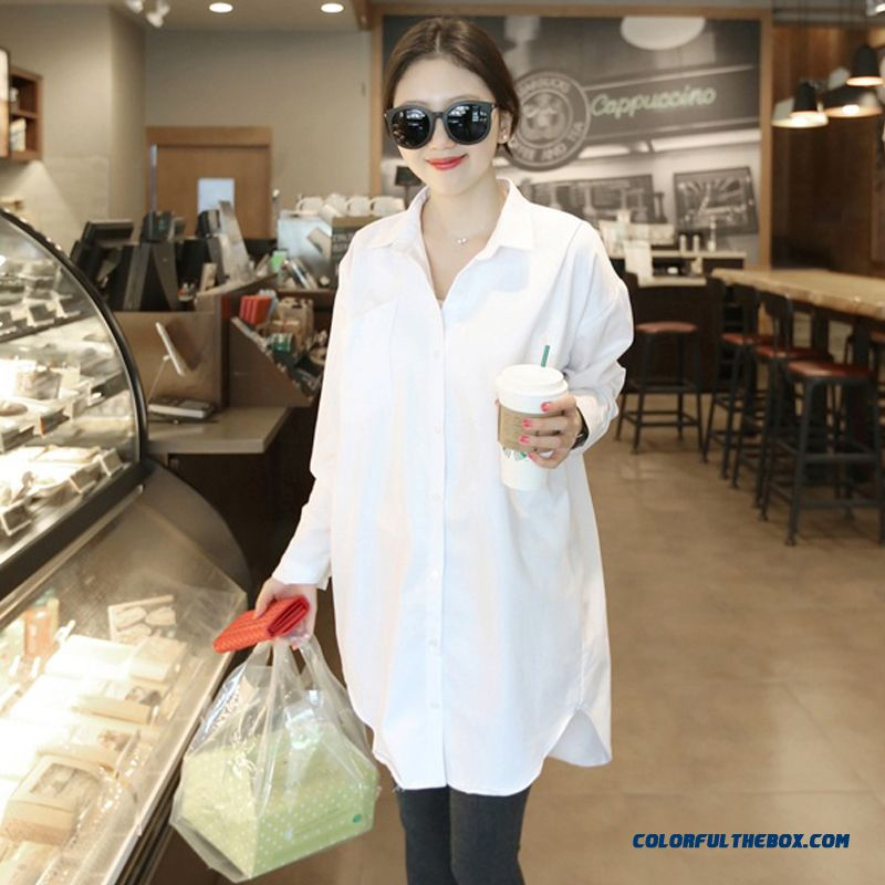 White Long-sleeved Shirt Medium-long Loose Plus Size Women Simple Cotton Pregnant Shirts