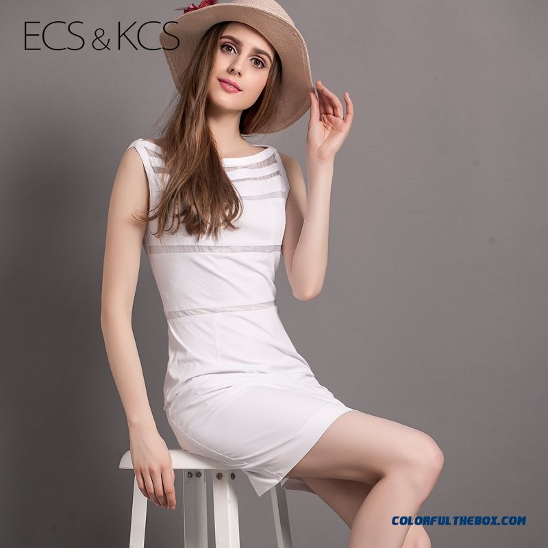 White Striped Slim New Women Sleeveless Dres Summer Sexy