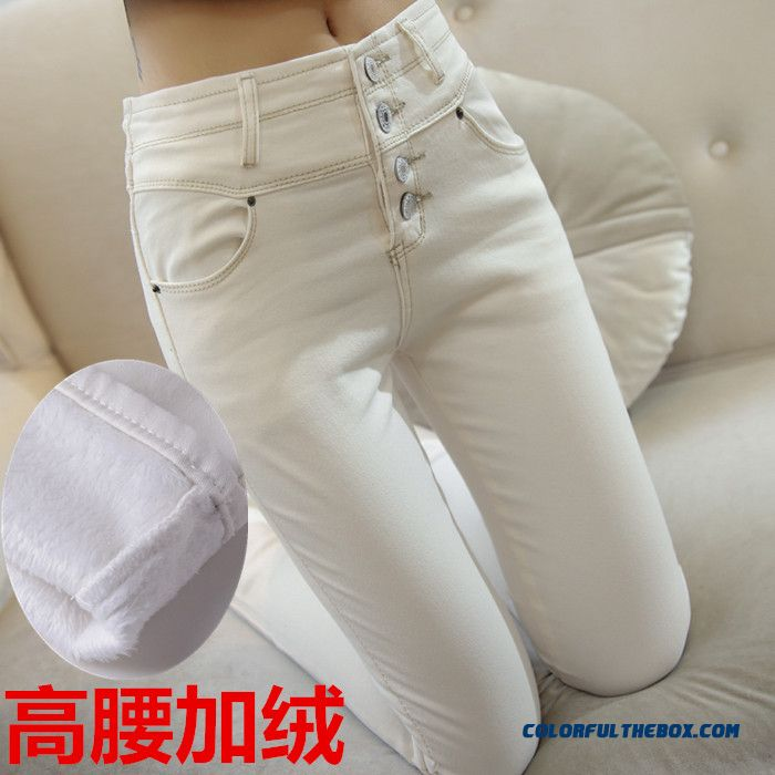 White Velvet Jeans Women Elastic High Waist Pants Large Size Slim And Thin