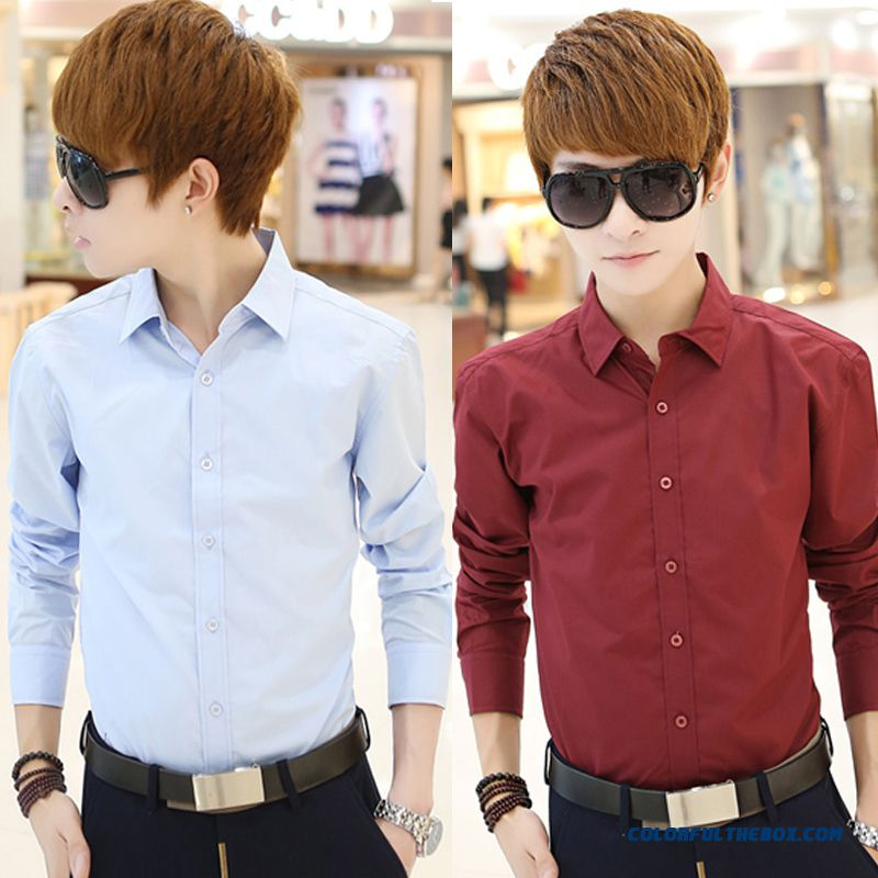 Wholesale Autumn And Winter Men's Casual Long-sleeved Shirt Slim Solid Color Tide