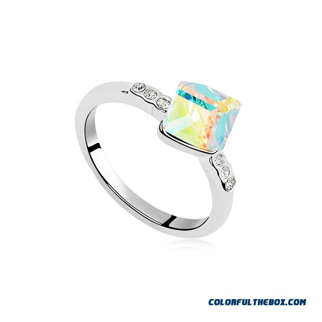 Wholesale Custom Manufacturers Crystal Ring - Water Cube Fashion Women Fine Jewelry - more images 4