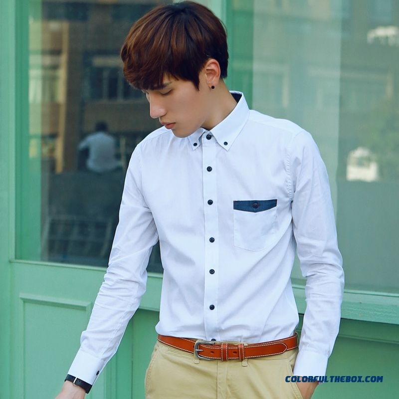 Wholesale Elastic Slim White Long-sleeved Shirt Men's Fashion Casual Shirt Tide
