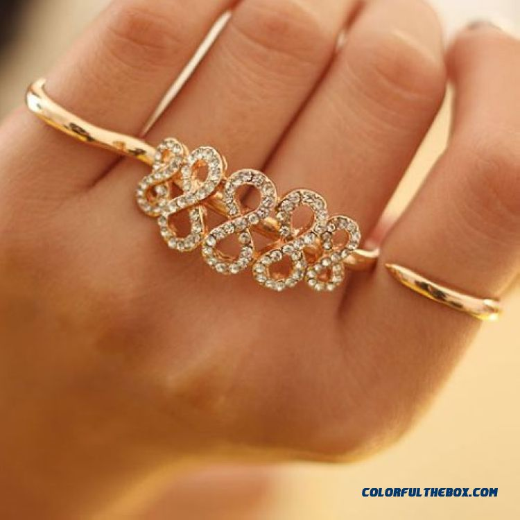 Wholesale Europe And America Ring Popular Fashionable Diamond 8-word Double Finger Ring Jewelry For Women