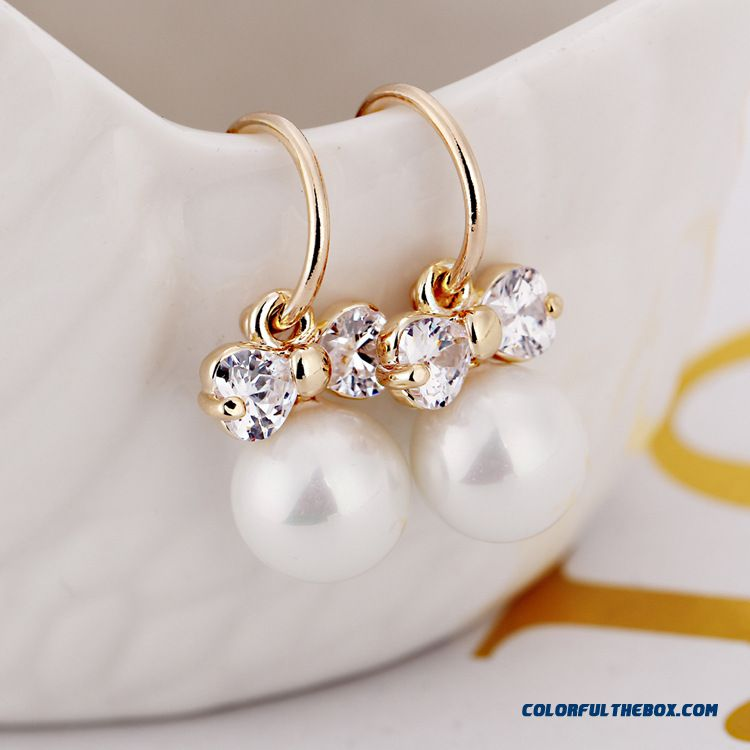 Wholesale Fashion Gold Plated Bowknot Pearl Ear Jewelry Design For Women