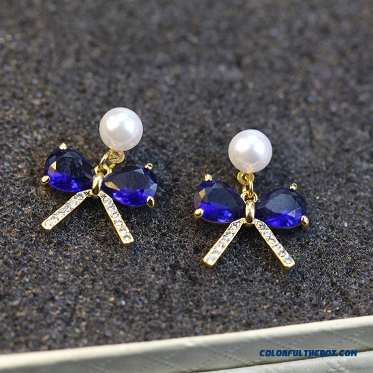 Wholesale High-end Bow Pearl Earrings Top Women Fashion Jewelry