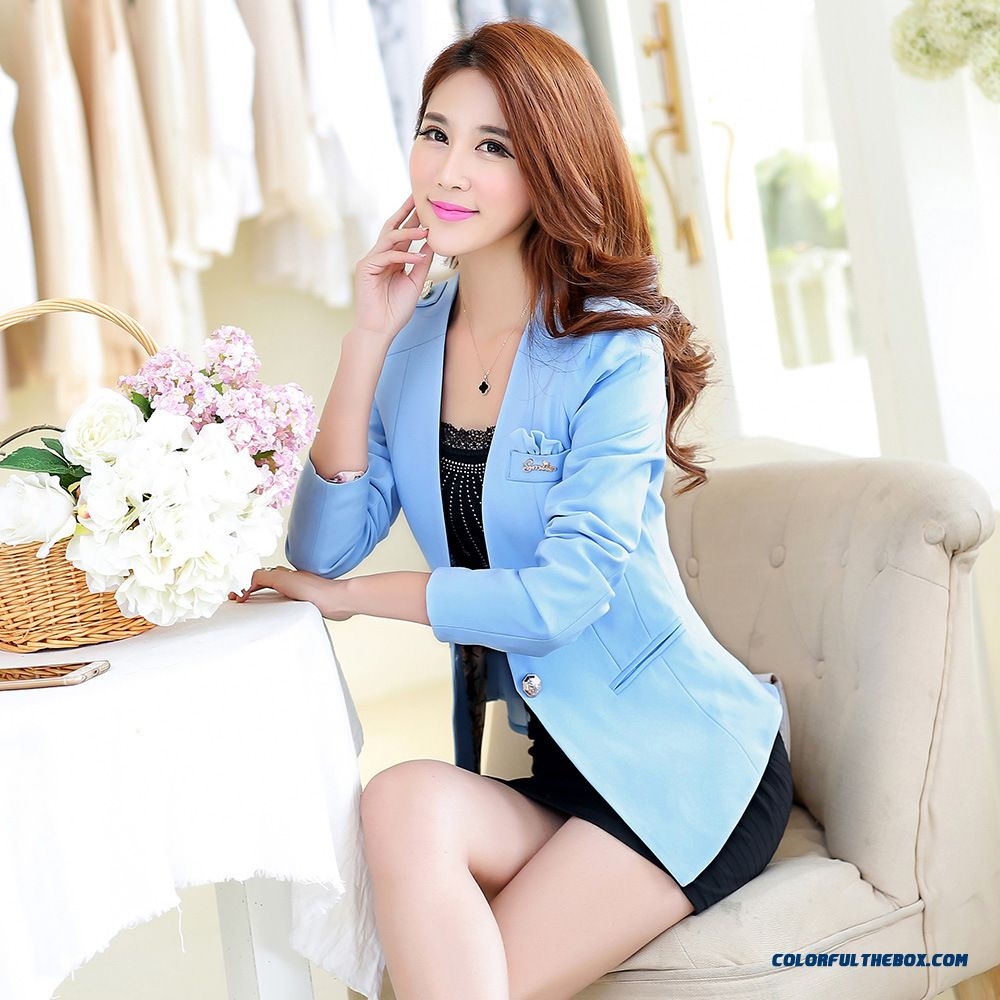 Wholesale Hot Style Of New Small Suit Coat Women Korean Slim Small Suit Coat Biue Outlet