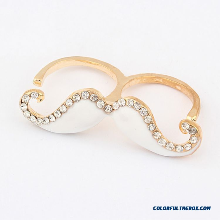 Wholesale Jewelry Hot Fashion Color Diamond Moustache Double Loop Open Ring Free Shipping For Women