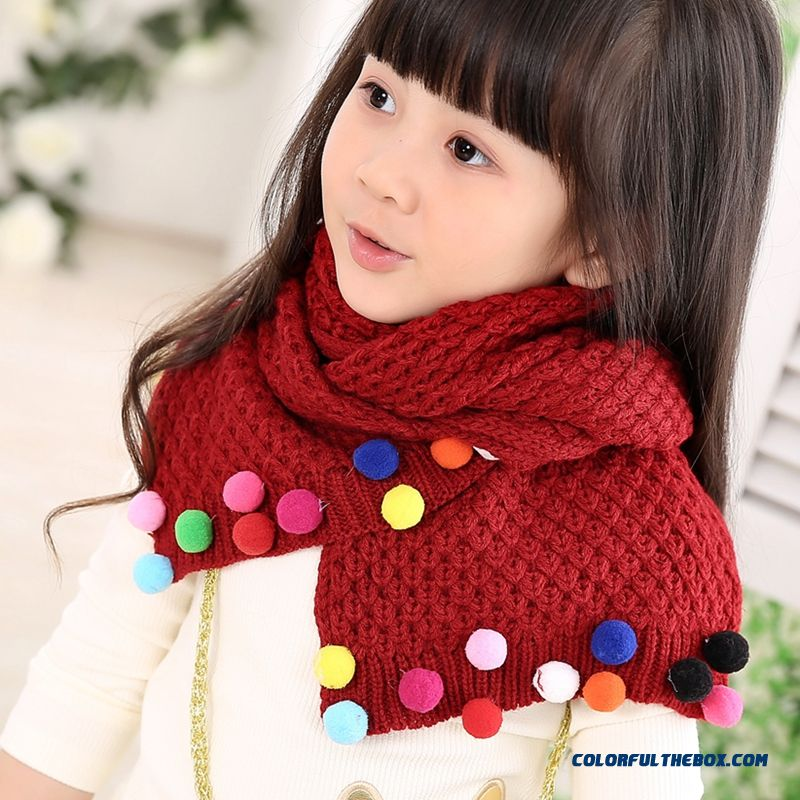 Wholesale Kids Winter Warm Cute Scarfkids Winter Warm Cute Wool Scarf Breathable Casual Accessories For Girls - more images 4