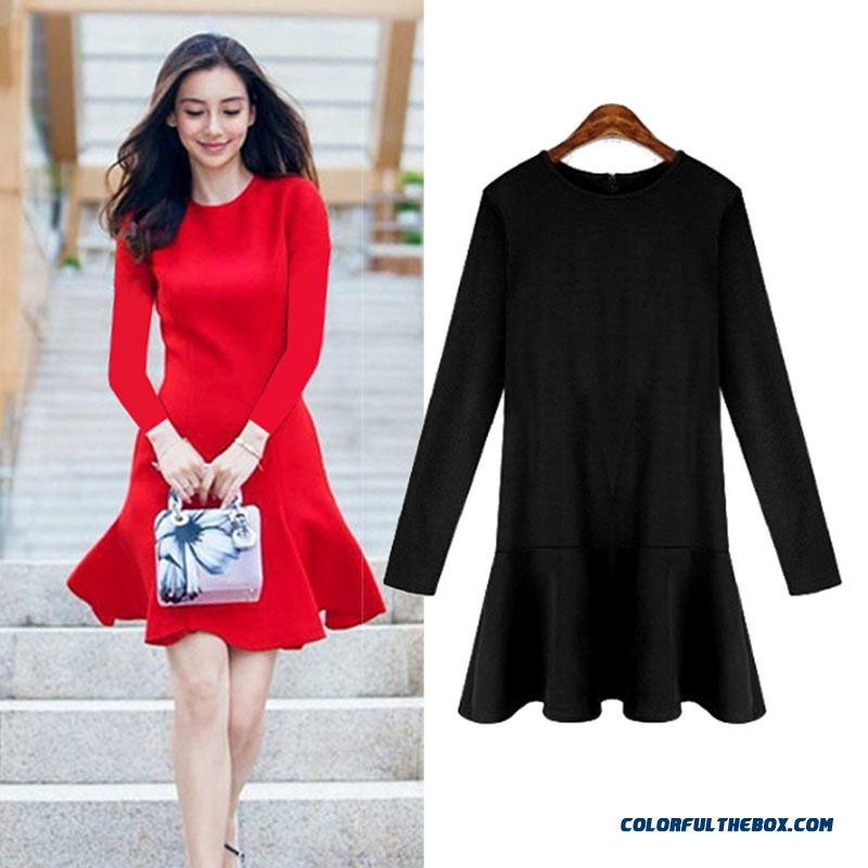 Wholesale Long-sleeve Dress Bottoming Red Black Comfortable Breathable Fabric Women Clothing