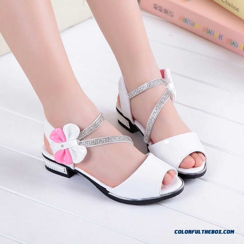 Wholesale Low Price High Quality Kids Shies White Student Shoes Princess Shoes Authentic Girls Sandals - more images 1