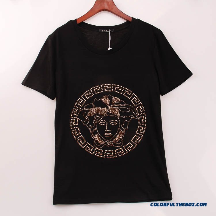 Wholesale Low Price High Quality Women Head Hot Fix Rhinestone Crew Neck Short-sleeved T-shirt