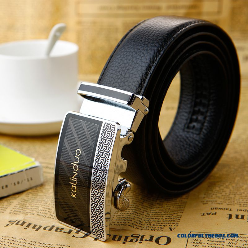 Wholesale Low-key Luxury Design For Men Accesories First Layer Of Leather Genuine Leather Automatic Buckle Belt