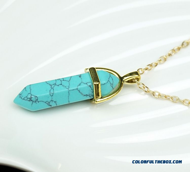 Wholesale Natural Agate Crystal Jewelry Hexagonal Column Pendant Pendant For Women