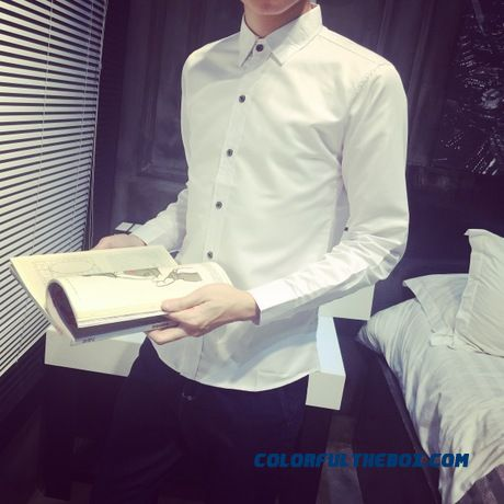 Wholesale New Spring And Autumn Men's Business Casual Long-sleeved Shirt Solid Color Slim